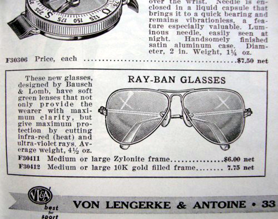 Ray-Ban price list 1939