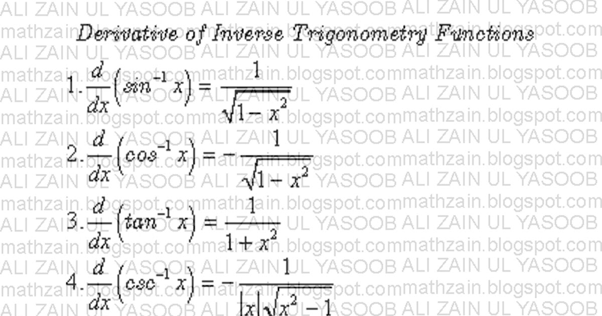 Mathzain Derivative Of Inverse Trigonometric Functions