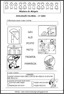Avaliação global para 1º ano alfabetização