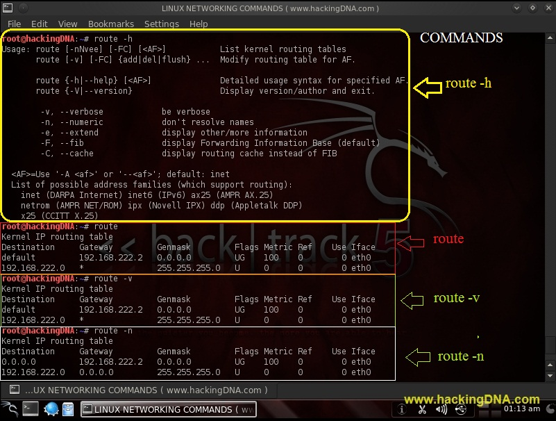 LINUX NETWORKING COMMANDS ON BACKTRACK 5 | HackingDNA