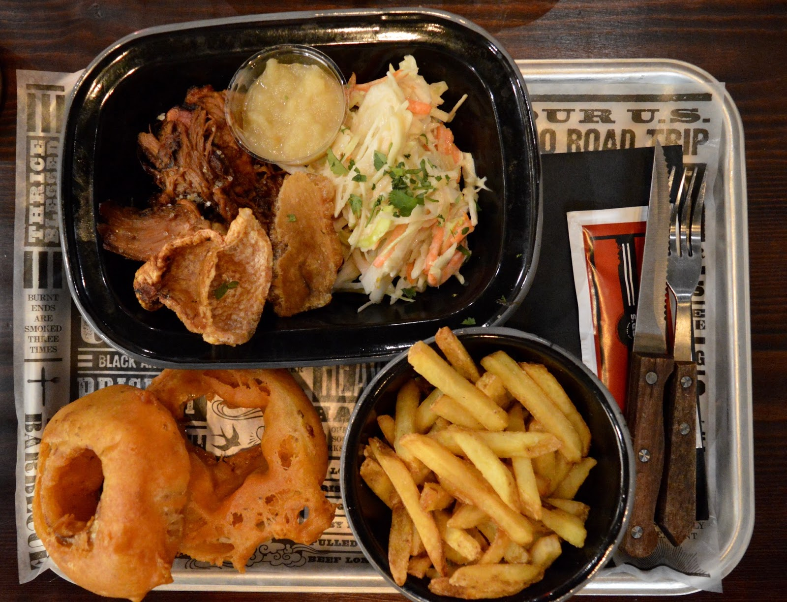 Red's True BBQ Newcastle | Menu Review (including Children's Menu) - pulled pork, skin on fries and onion rings