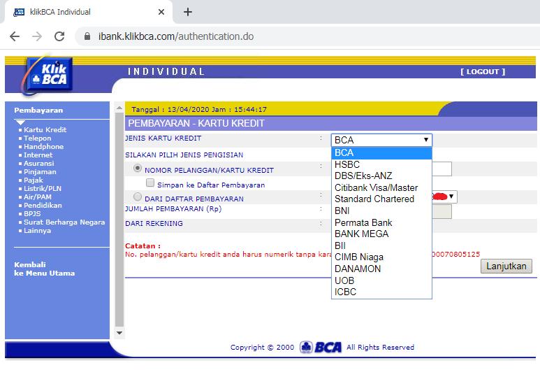 Cara Membayar Tagihan Kartu Kredit BCA Melalui Klikbca