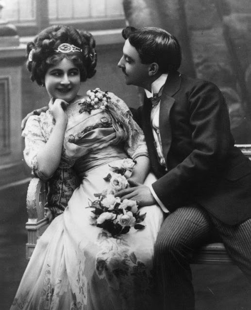Vintage Photo. Theatrical couple flirt with each other. Edwardian era. Marriage, A Word to Women by Mrs. C. E. Humphry, 1898. marchmatron.com
