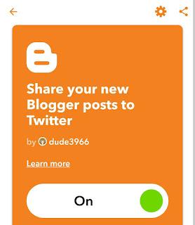 Turn on Blogger Twitter IFTTT applet