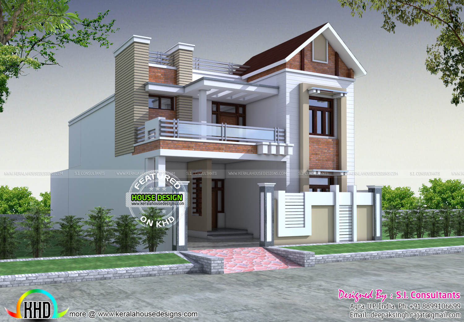 Front decorative house elevation kerala home design and for 1000 sq ft house front elevation