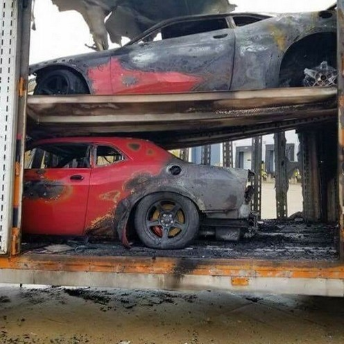 Three Dodge Demons Destroyed After Delivery Truck Catches