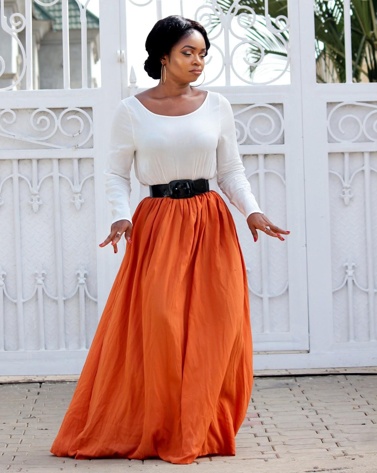 CRISS-CROSS BACK MAXI - Orange Spliced Back Criss-Cross Maxi Dress