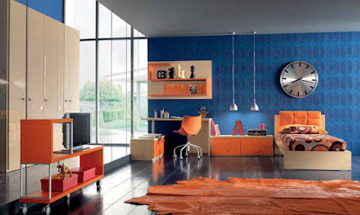 relaxing paint colors for bedroom and living room (blue-orange)