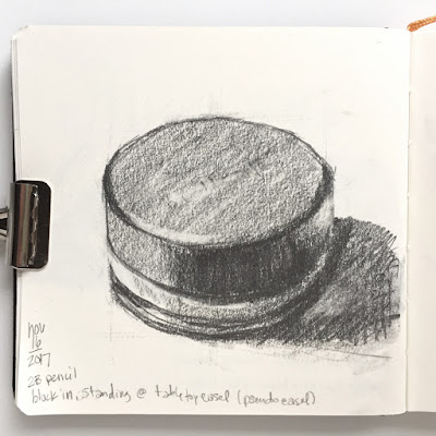 Daily Art 11-16-17 still life sketch in graphite number 17- pot of blush