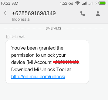 Notifikasi SMS Sukses Request UBL Xiaomi