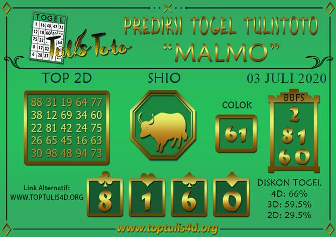 Prediksi Togel MALMO TULISTOTO 03 JULI 2020