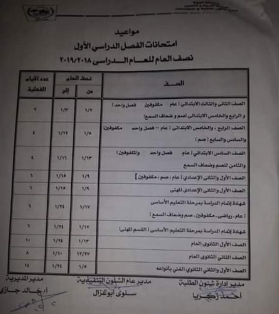 جداول مواعيد امتحانات محافظة الجيزة لجميع المراحل 2019 الترم الاول (الابتدائية والاعدادية والثانوية)