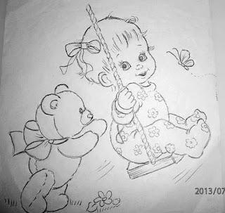 desenho de menina no balanço com ursinho para pintar em fraldas