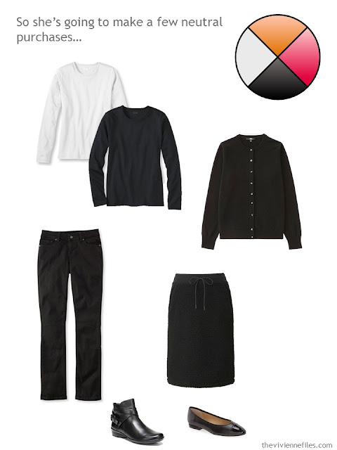 5-piece neutral wardrobe in black and white with 2 pairs of black shoes