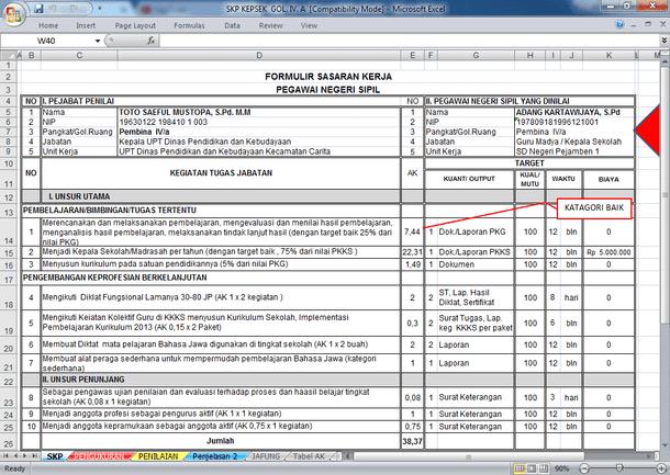 format skp guru Aplikasi SKP Kepala Sekolah Terbaru Format Microsoft Excel - Berkas ...