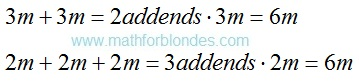 Addition replacement with multiplication. Mathematics For Blondes.