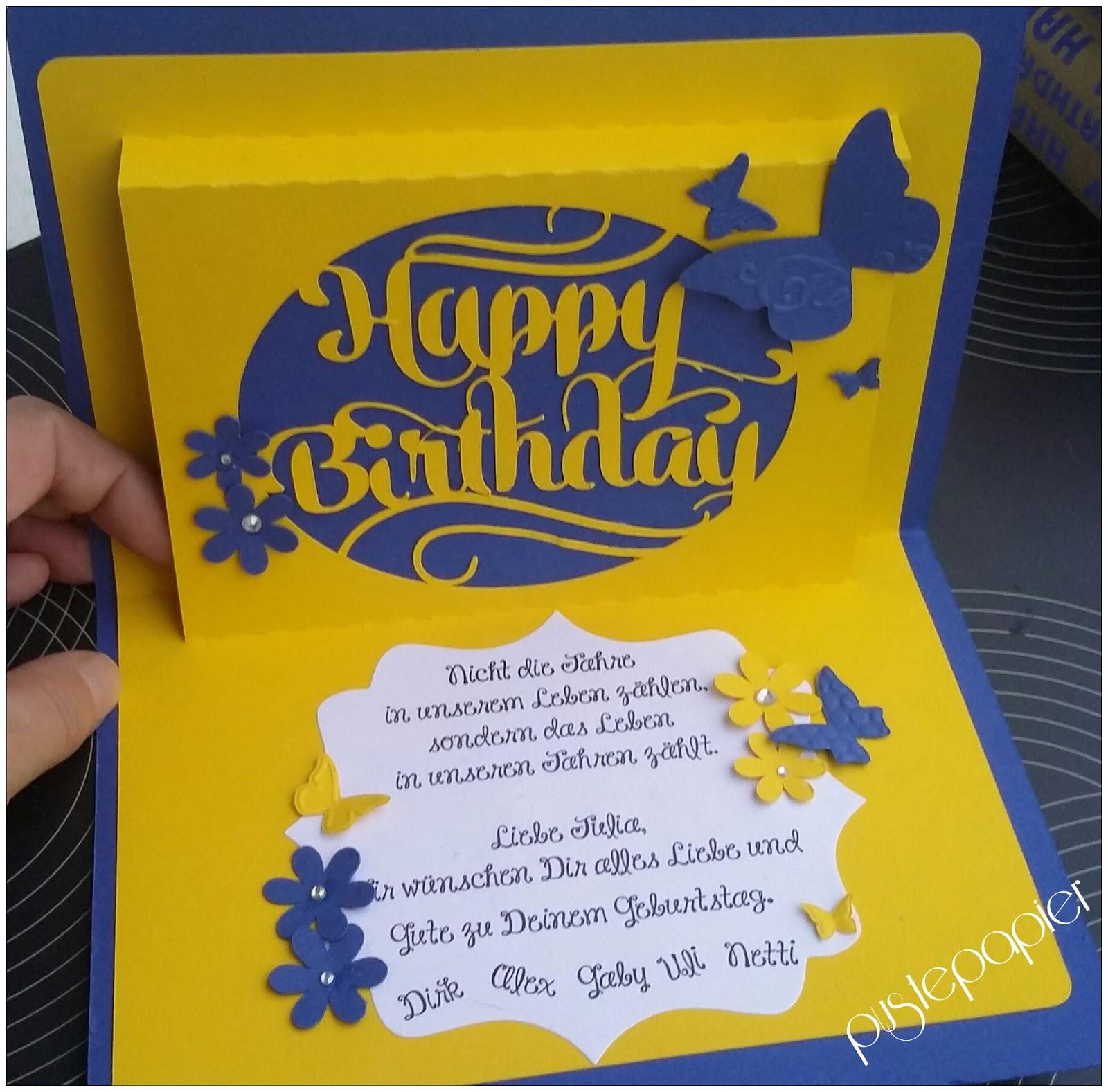 Pustepapier  Happy Birthday in blau und gelb