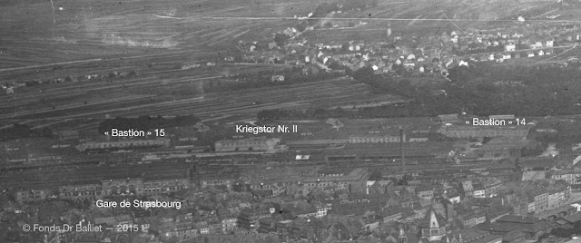 Front du Kriegstor Nr. II — Vue aérienne, 1920 (cliché Fonds Dr Balliet)