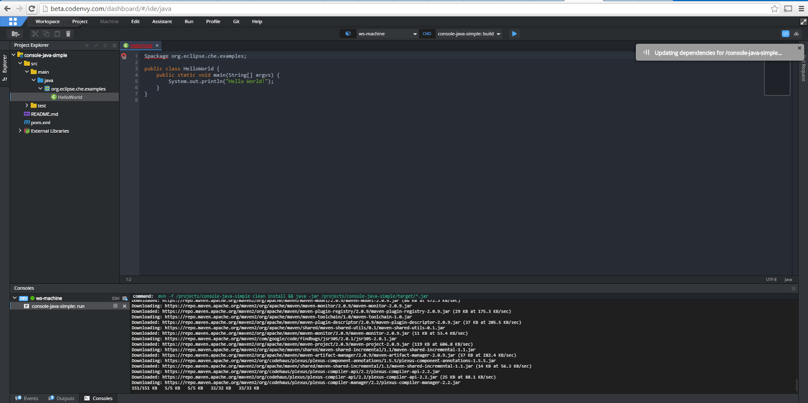 Java Free Account Web Ide For Cloud Workspace