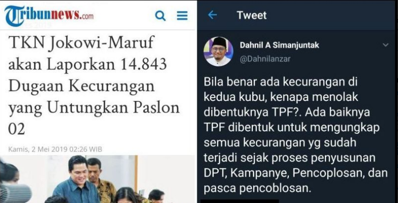 TKN Jokowi Tuduh Dugaan Kecurangan Untungkan 02