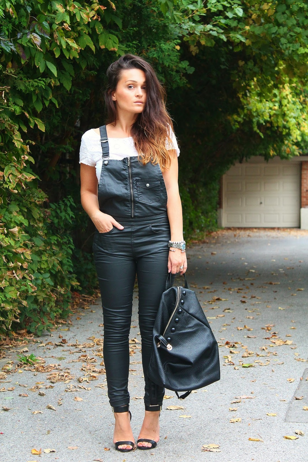 leather overalls, black dungarees, black and white outfit, how to style overalls, blogerke, tregerice, toronto street style, toronto fashion blogger