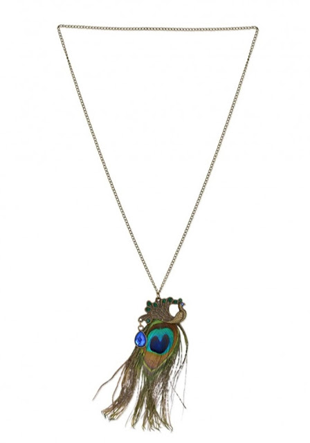 Rhinestone Peacock Feather Necklace