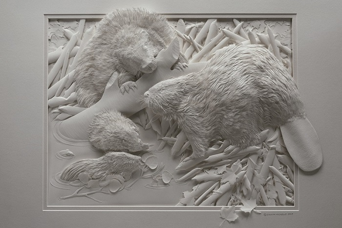 If You Think That's A Sleeping Polar Bear, Then Look Closely... You'll Be Amazed! - Since he's only working with white paper, the details must be exactly right in order to create the appropriate depth and shadowing.
