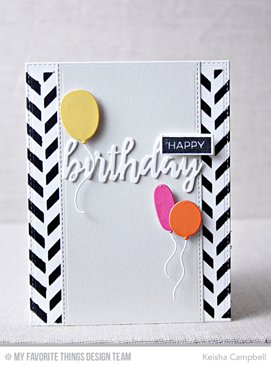Handmade card from Keisha Campbell featuring Label Maker Sentiments stamp set, Label Tape,  Brushstroke Birthday Greetings, Birthday Balloons, and Blueprints 23 Die-namics, and Herringbone Bricks stencil #mftstamps