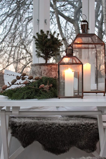 Glass lanterns candles christmas greenery swedish