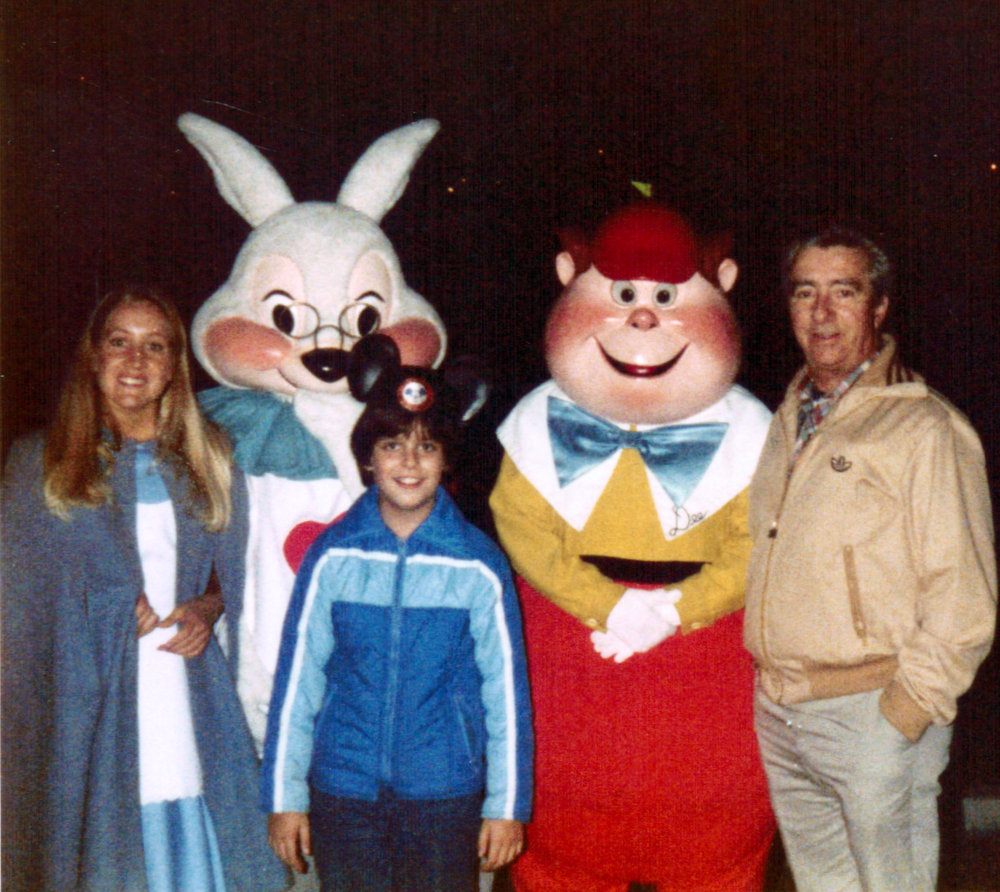 Maurice and Raymond Belair with Alice in Wonderland characters at Disneyland 1980