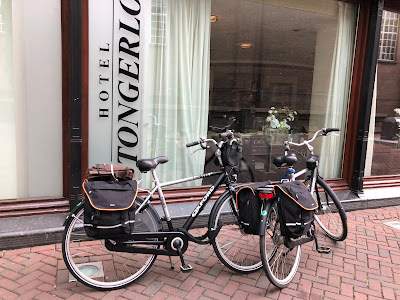 Our rented bikes in Roosendaal in front of Hotel Tongerlo.