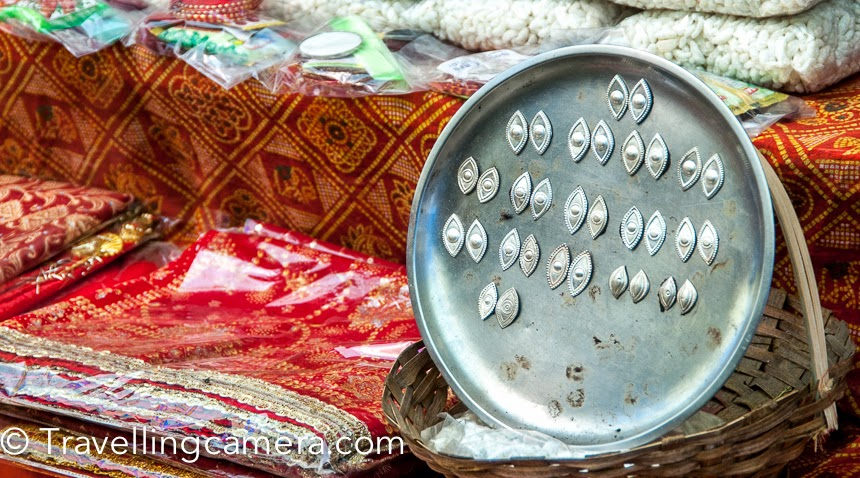 Eyes made up of silver at one of the shops outside Naina Devi temple. 'Naina' means 'eyes' and pilgrims offer a pair of silver eyes along with prasad at Naina Devi temple.