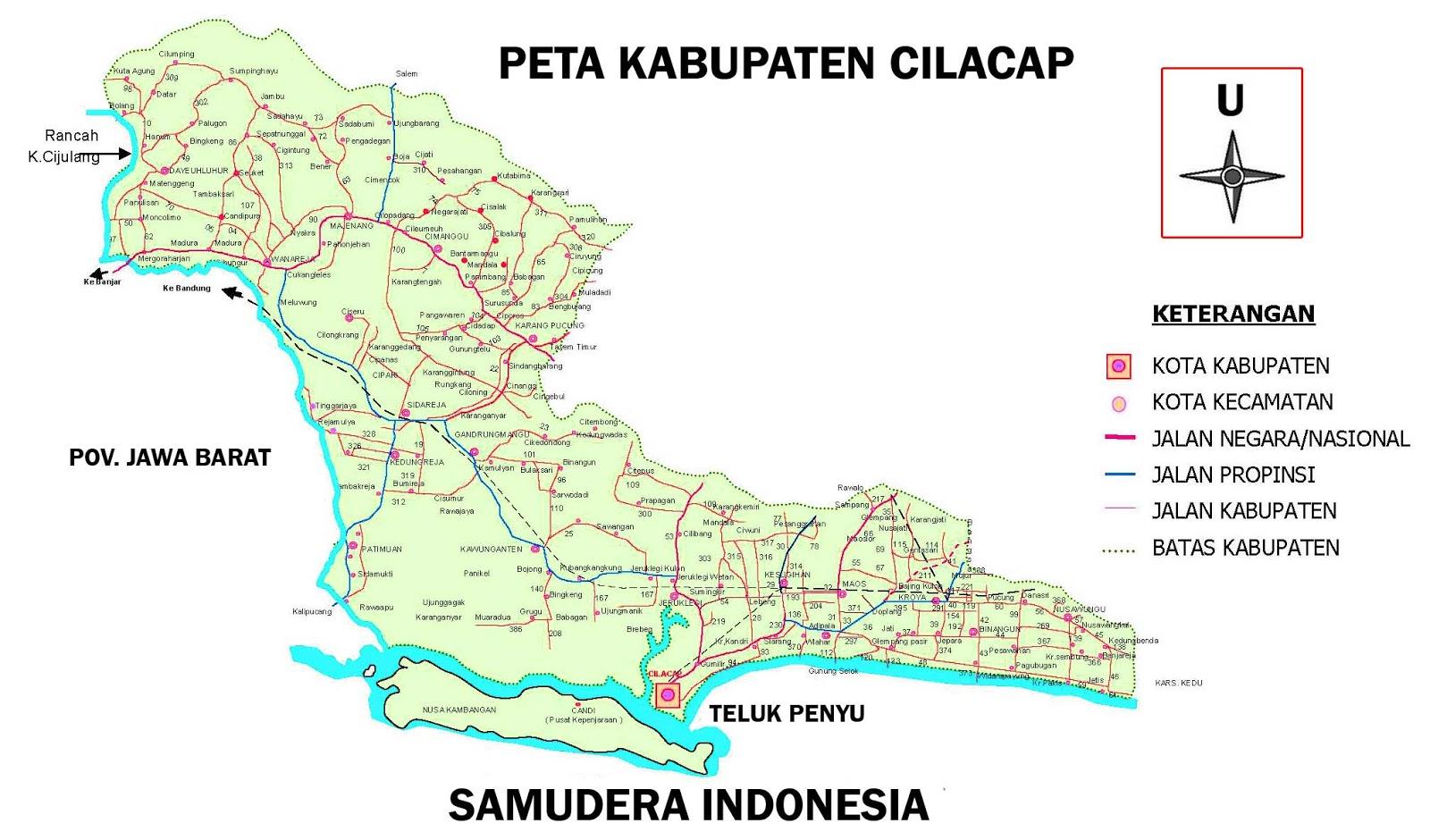 Peta Cilacap Jawa Tengah Lengkap 24 Kecamatan | Sejarah ...