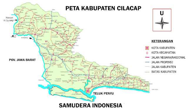 Gambar Peta Kabupaten Cilacap lengkap 24 kecamatan