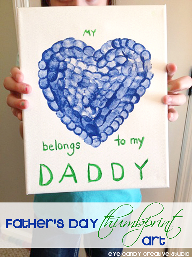 My Heart Belongs To Daddy Kids Thumbprint Art Fathers Day Gift Ideas