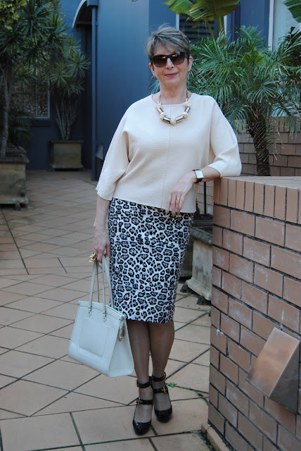 animal print skirt, Country road top, LV shoes and bag