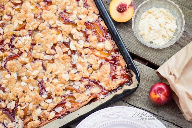 Mürbteig Pfirsich Streusel Kuchen