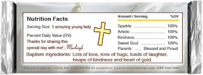 customized baptism candy bar wrapper