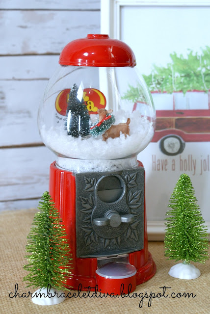 DIY gumball machine waterless snow globe