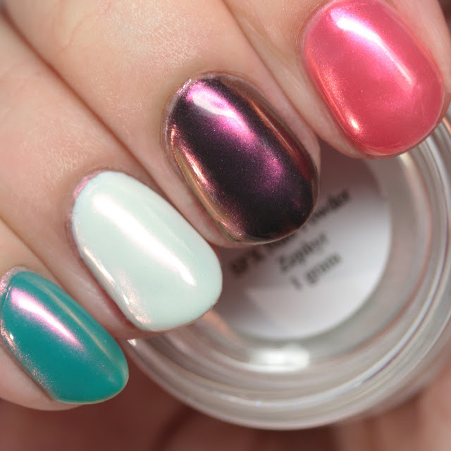 Girly Bits SFX Duo-Chrome Powder Zephyr over colored gel