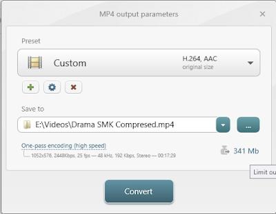 Tampilan jendela output parameters