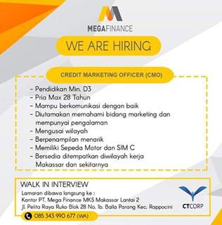 Lowongan Kerja CMO di PT Mega Finance MKS Makassar