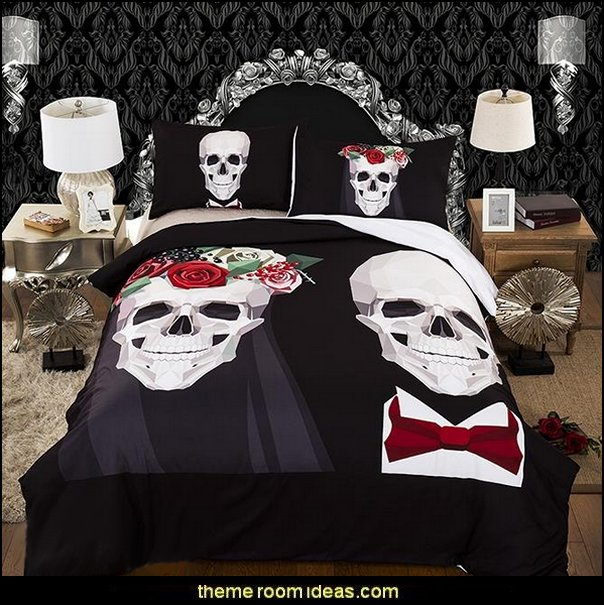 skull bedding - skull decor - skull pattern Bedding - sugar skull bedding - skull themed room - skull bedroom wallpaper - Skull bedroom decorating ideas - Monster High bedroom ideas - Monster High wall decals - Monster High room decor ideas