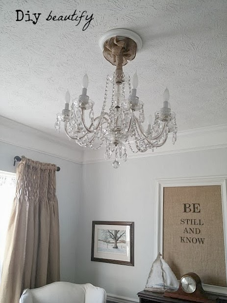 Cover your chandelier cords with burlap diy beautify aloadofball Images