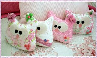 lindas corujinhas em tecido para decoraçao