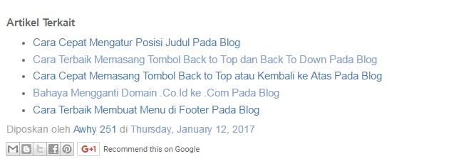 Cara Terbaik Membuat Artikel Terkait Atau Related Post di Bawah Artikel Pada Blog