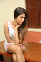 Nishi Ganda stunning cute in Flower Print short dress at Tick Tack Movie Press Meet March 2017 003.JPG