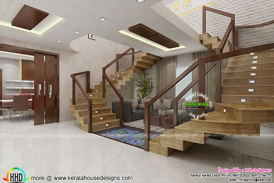Bifurcated stair design interior, Kerala