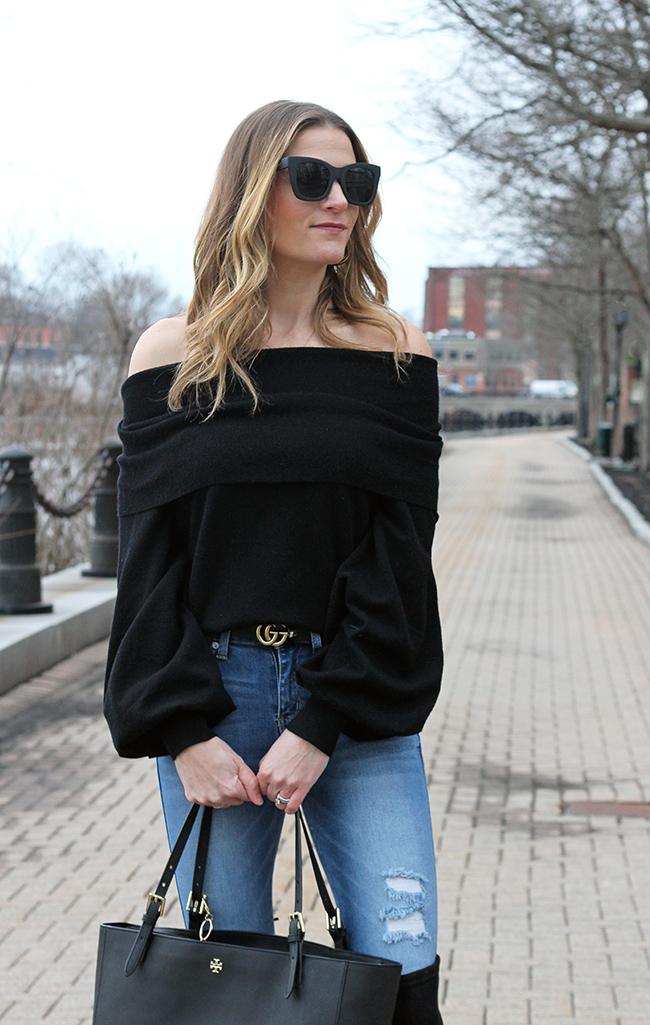 Black off shoulder sweater #offshoulder #winterstye