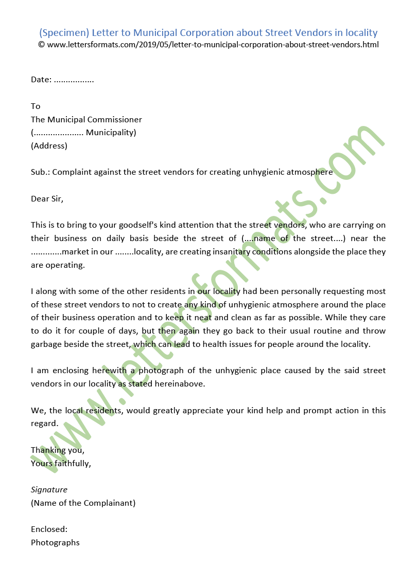 Letter To Municipal Corporation About Street Vendors In Locality
